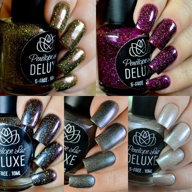 Coleção DELUXE da Penélope Luz. Glitter. Indie. Esmalte Artesanal. Glamour. Nails. Nail art. Unhas.