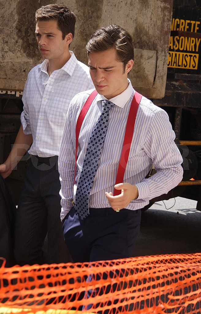 Photos of Ed Westwick and Leighton Meester on the Set of Gossip Girl   POPSUGAR Celebrity