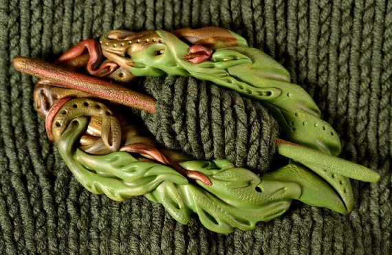 polymer clay scarf pin