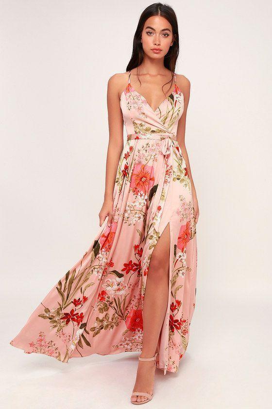 f79dc194e STILL THE ONE BLUSH PINK FLORAL PRINT SATIN MAXI DRESS | Fashion ...