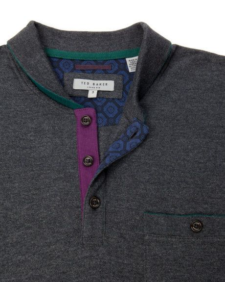 LUTHER - Sailor collar polo - Grey | Men's | Ted Baker UK