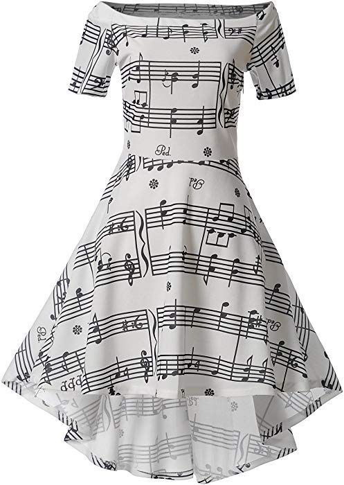 c6ba3b60aca Wellwits Women s Music Note Off Shoulder High Low Vintage Swing Dress White  M at Amazon Women s Clothing store