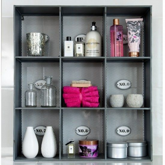 This industrial bathroom storage unit creates the perfect place for all those bathroom essentials and looks really striking