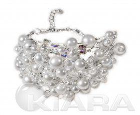 """Bransoleta w formie """"bałaganu"""", wykonana na posrebrzanym drucie. Doskonały efekt, dzięki połączeniu szklanych perełek  w różnych rozmiarach ..."""