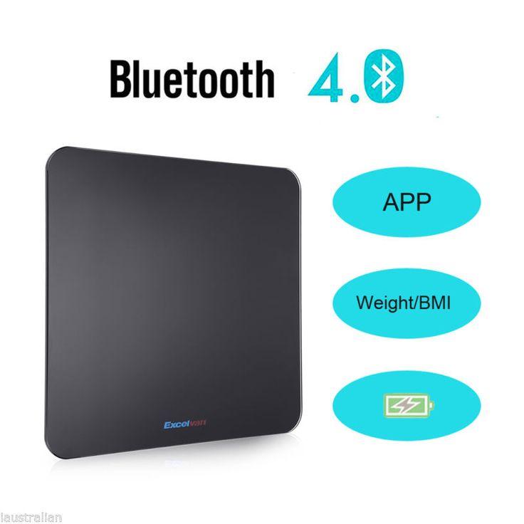 400lb LED Bluetooth Digital Smart Body Weight Scale Fat Tracking BMI Analyzer US #ad