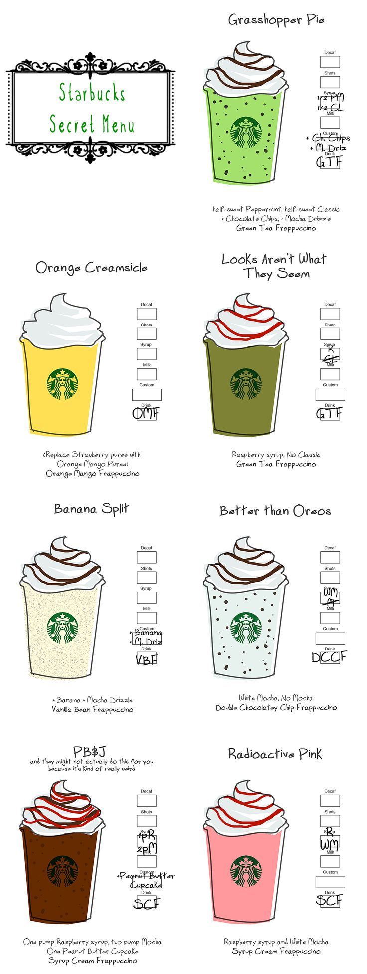 Starbucks Secret Menu - I could NEVER figure out what I should order whenever I went to Starbucks. Now.... I can try a new one every time I go! Yay!!