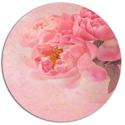 """DesignArt 'Peony Flowers on Pink Background' Painting Print on Metal Size: 23"""" H x 23"""" W x 1"""" D"""