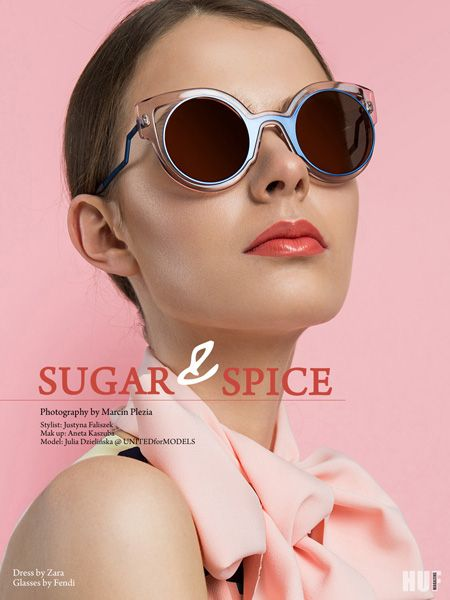 sugar and spice fashion editorial . fendi glasses, rose quartz pantone