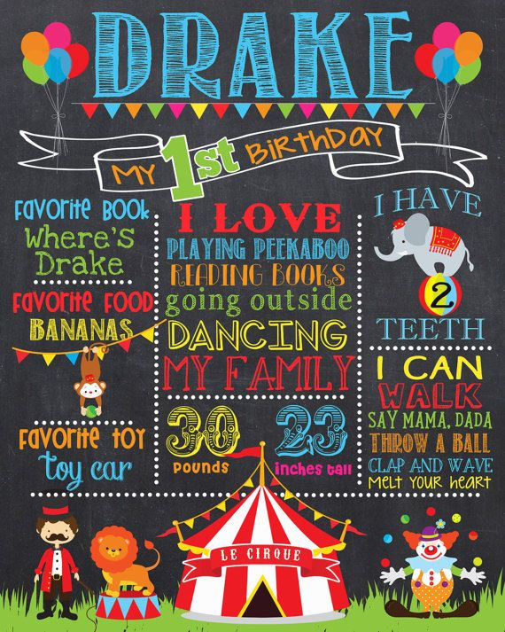 Circus First Birthday Chalkboard Poster Circus and by PrincessSnap