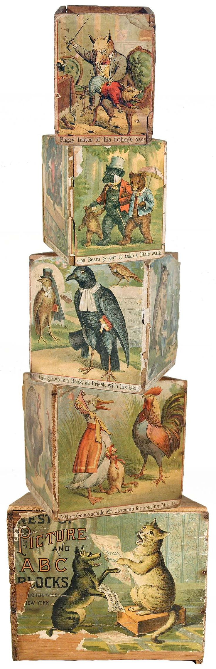 c.1890 McLoughlin, Picture and ABC Nesting Blocks of Animal Proverbs
