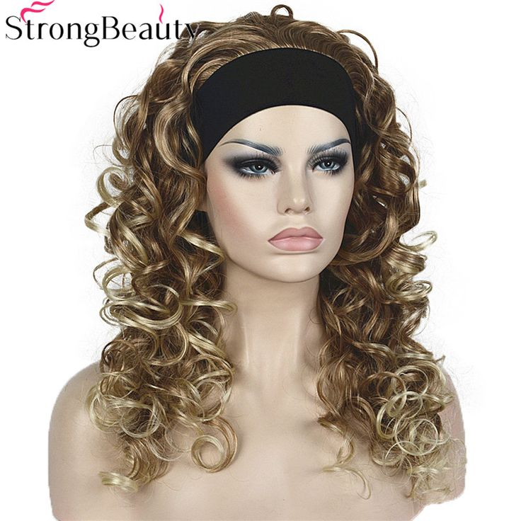 Strong Beauty Synthetic Half Wig With Headband Long Curly