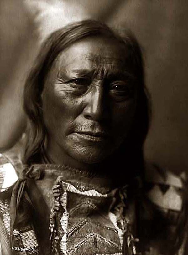 This magnificent portrait is of Hollow Horn Bear, an Indian Brave. It was created in 1907 by Edward S. Curtis.