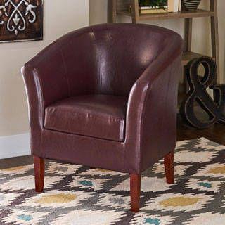 Linon Andrew Barrel Blackberry Upholstered Club Chair Kitchen