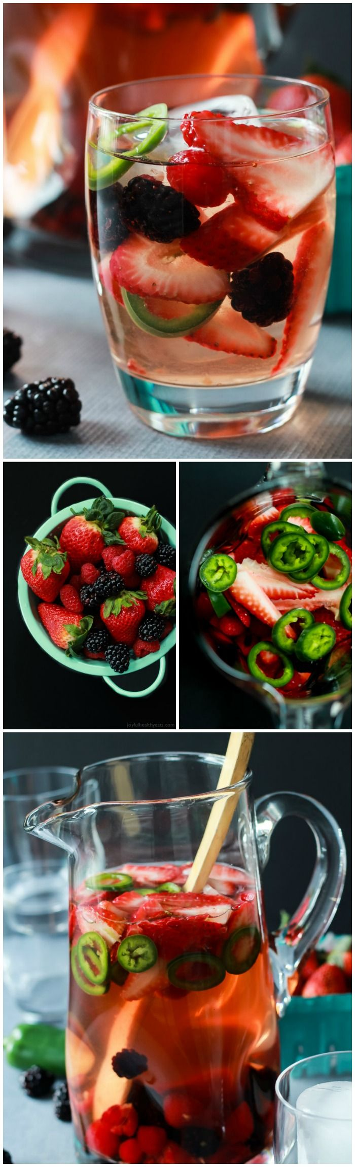 A fresh light Strawberry Jalapeno White Sangria recipe with pomegranate juice and mixed berries. It has everything your taste buds want sweet, spicy ,and fruity!  | joyfulhealthyeats.com #recipes #cocktail