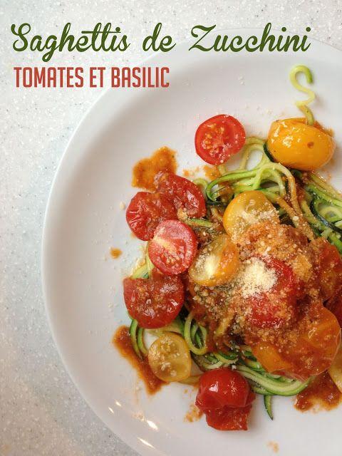 'Spaghettis' de Zucchini aux Tomates et Basilic, Délicieux, Amusant et faible en glucides | Zucchini 'Spaghetti' w/ Basil & Tomato Sauce, Delicious, Fun and Low-Carb www.PasDeLaTarte.ca