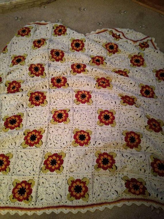 Crochet throw flower sofa blanket large by remdesignscustomwear