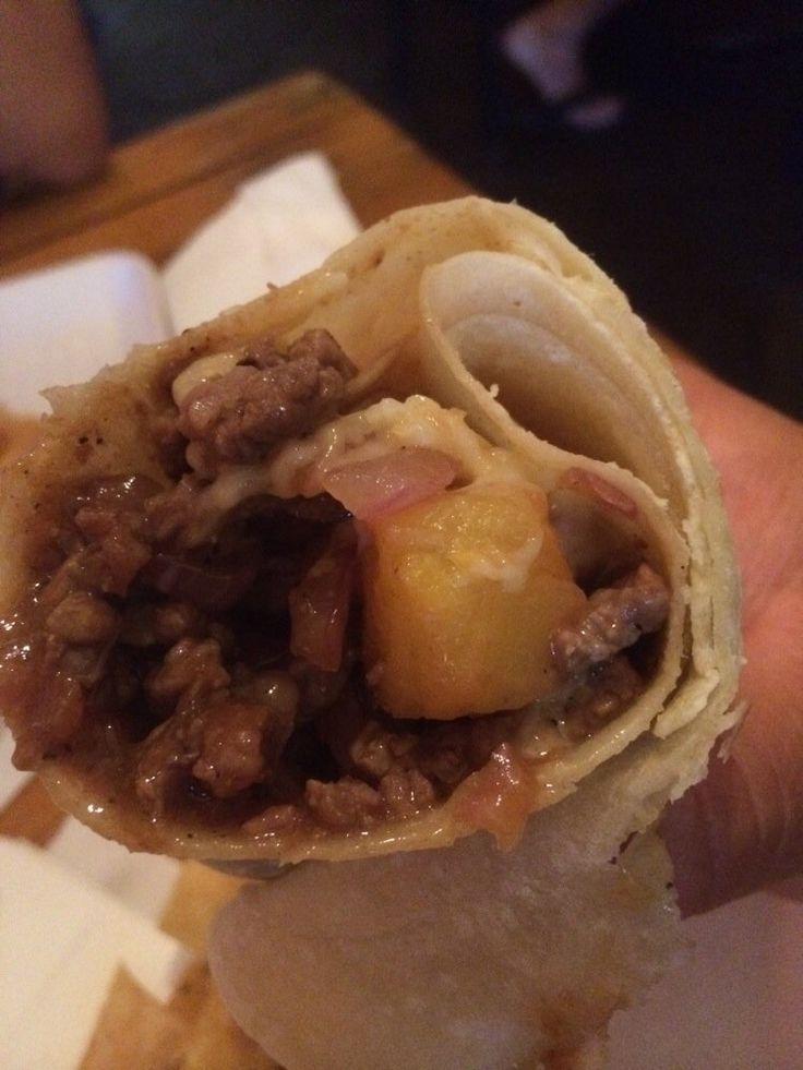 El Zarape: Aloha burrito - carne asada, ham, pineapple, onions.