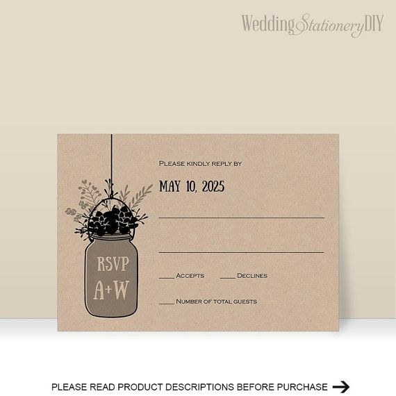 Rustic RSVP cardsWedding rsvp template by WeddingstationeryDIY