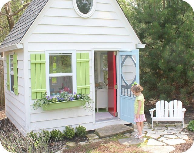 playhouse: Playhouses Ideas, Birdi Blue, Plays House, Outdoor Plays, Girls Playhouses, Screens Doors, Shutters, Kid, Window Boxes
