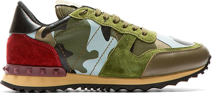 Valentino: Camo Green & Read Low Top Sneakers