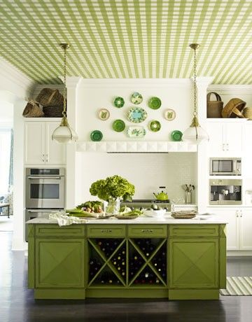 island: Wine Racks, Idea, Kitchens Design, Color, Green Kitchens, Islands, Ceilings, Greenkitchen, White Kitchens