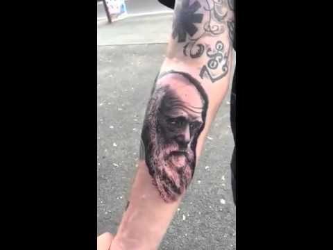 charles darwin tattoo -ink-portrait-great tattoo-masterpiece-realistic tattoo - YouTube