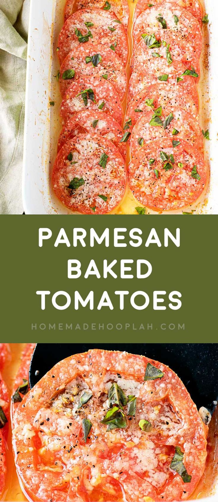Parmesan Baked Tomatoes! If you're craving pizza but not the calories, this easy baked tomato dish is like a pizza without the dough. Bakes fast and only has 4 ingredients!   HomemadeHooplah.com