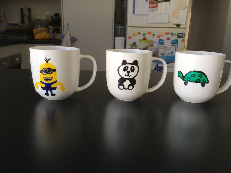 Minion, panda, turtle mugs
