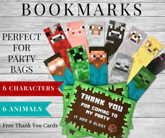 Minecraft Inspired Printable Birthday Party Bookmarks for Gift Bags / Minecraft Party Favors / Minecraft Party Supplies