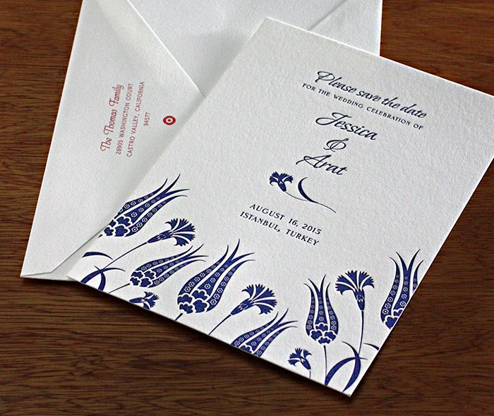 Turkish #tulip letterpress wedding invitation design Lale.  | Invitations by Ajalon | http://invitationsbyajalon.com/