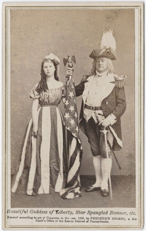 "ca. 1866, ""Beautiful goddess of liberty, Star Spangled Banner, etc"", [carte de visite portrait of a girl, dressed as Columbia, the American Flag, and a gentleman in a Revolutionary War costume], Frederick Coombs"