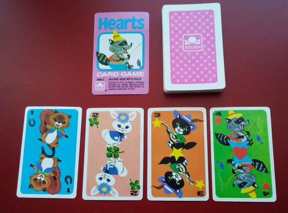 Hearts Card Game vintage playing card deck Children's by GoatCart