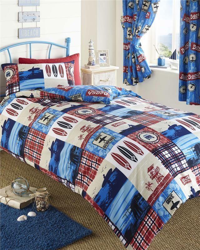 Duvet quilt cover boys bedding and or curtains beach - Fundas nordicas de futbol ...