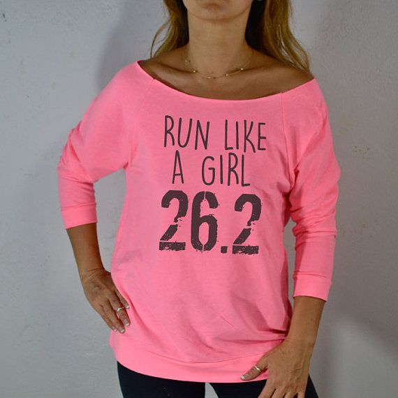Run Like A Girl 26.2. Women's Sweatshirt. Gym Clothing. Eco-Sweatshirt. Cozy-Off Shoulder Shirt. Sweatshirts.