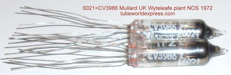 (!!!) (#1 6201 Mullard Pair) 6021=CV3986 Mullard UK Whyteleafe plant N