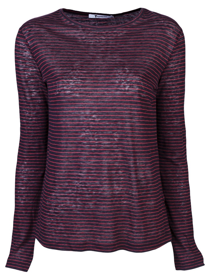 $110 T by Alexander Wang   http://roanshop.com/womens-clothing/t-by-alexander-wang-longsleeve-striped-t-shirt.html#