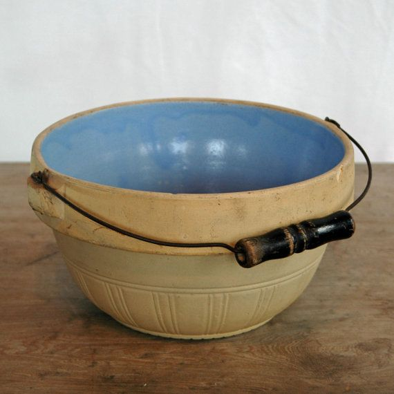 Antique Roseville Pottery Stoneware Bowl With Bail Handle