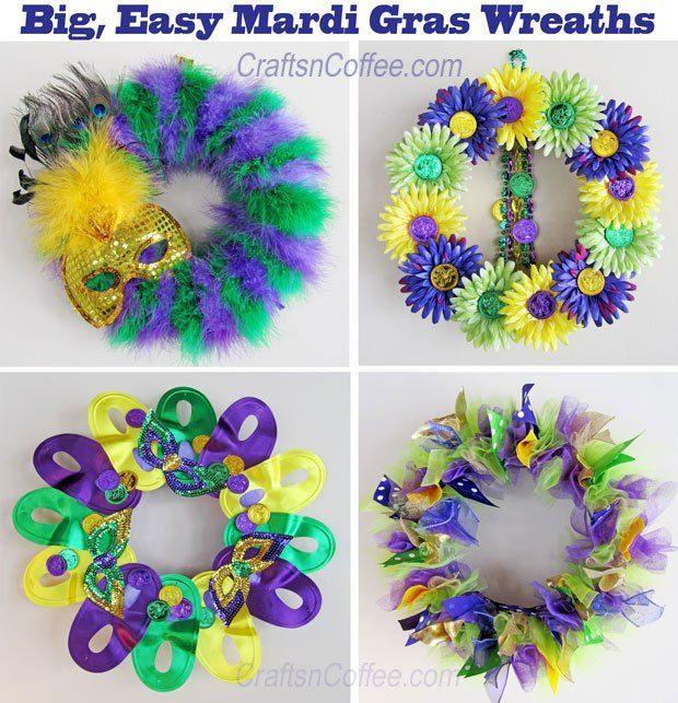 Four, fun and easy Mardi Gras wreaths to DIY. http://CraftsnCoffee.com