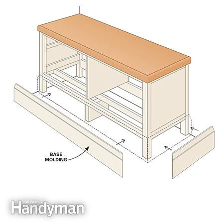 Fasten molding - Ikea Hemnes Hack: Built-in Bench http://www.familyhandyman.com/woodworking/projects/ikea-hemnes-hack-built-in-bench/view-all