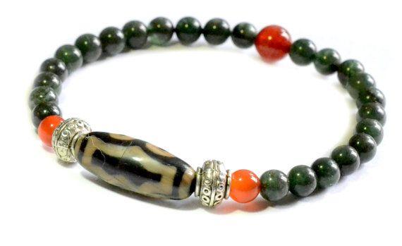 Gorgeous Dark Green Jade Bracelet with 5 by FortuneJadeJewelry, £26.00
