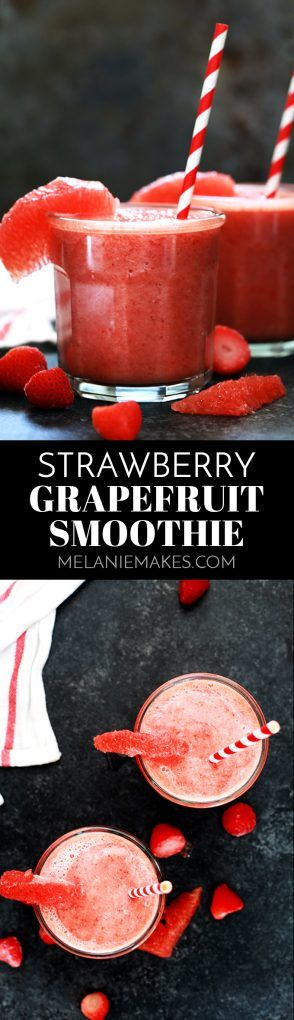 This four ingredient Strawberry Grapefruit Smoothie couldn't be easier! A ruby red grapefruit, strawberries, banana and orange juice are blended together in just seconds to create the perfect easy breakfast or snack.