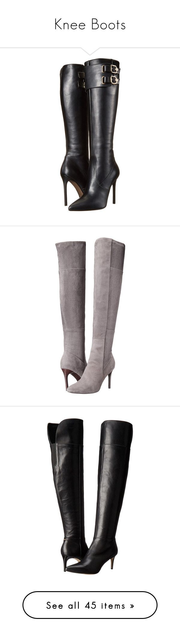 """""""Knee Boots"""" by vicky-soleil ❤ liked on Polyvore featuring shoes, boots, black, versace, over-the-knee boots, black thigh-high boots, over the knee boots, knee high leather boots, thigh high leather boots and black leather boots"""