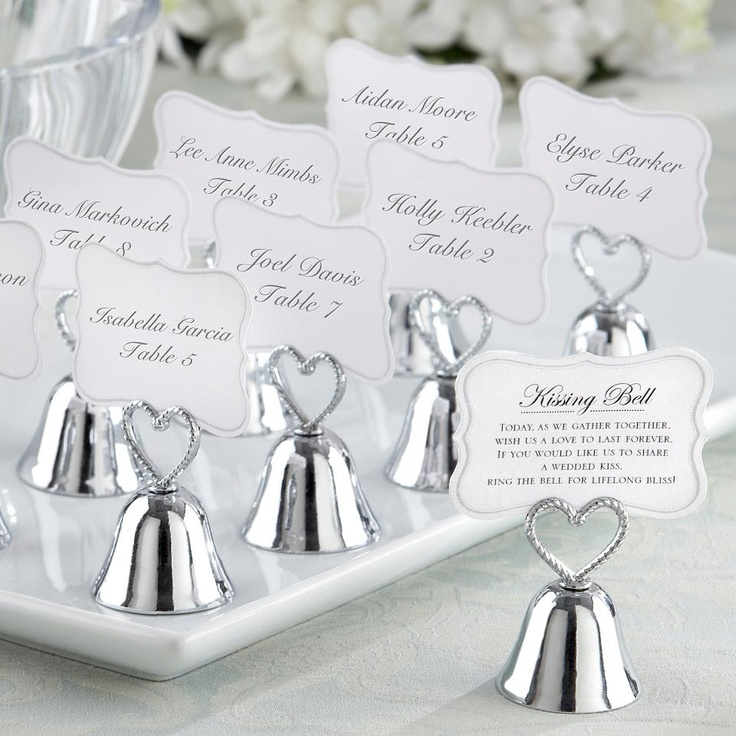 silver heart wedding place card holders%0A   Kissing Bell   Place Card Photo Holder with a braidedheart handle  Sweet   silverfinish metal bell place card photo holder with braided  openwork  heart ha