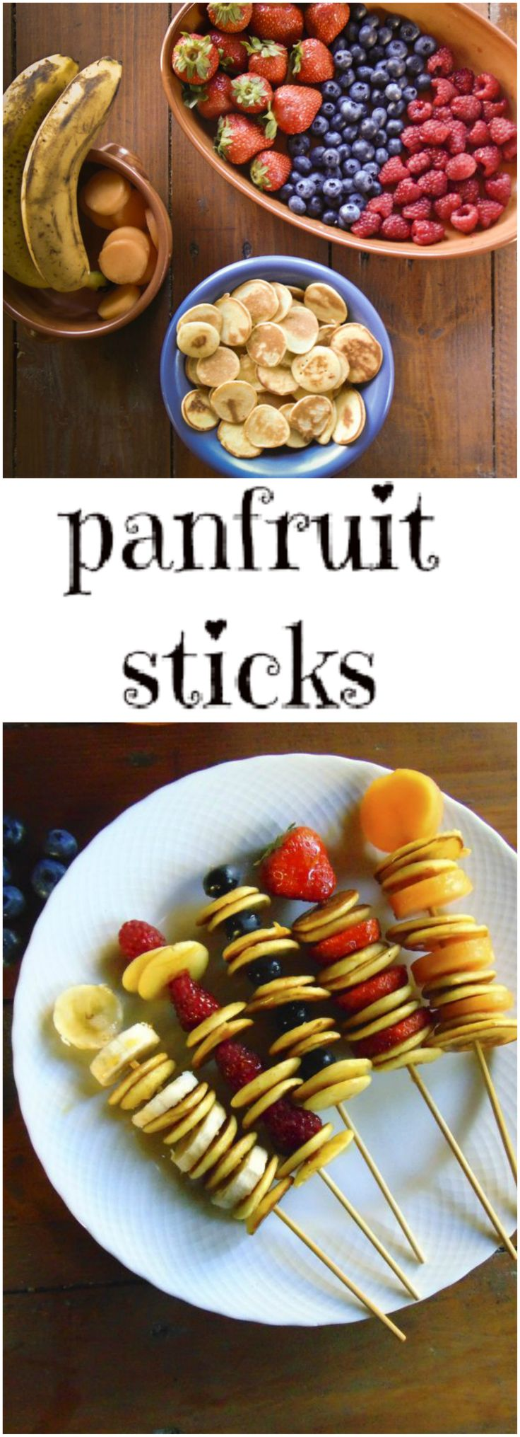 pancake, pancake-sticks.Your younger guests will love these pancakes sticks! A simple and colorful idea to get your kids eat more fruits. Perfect for a dessert at the end of the meal, for a snack or a birthday party in the garden.