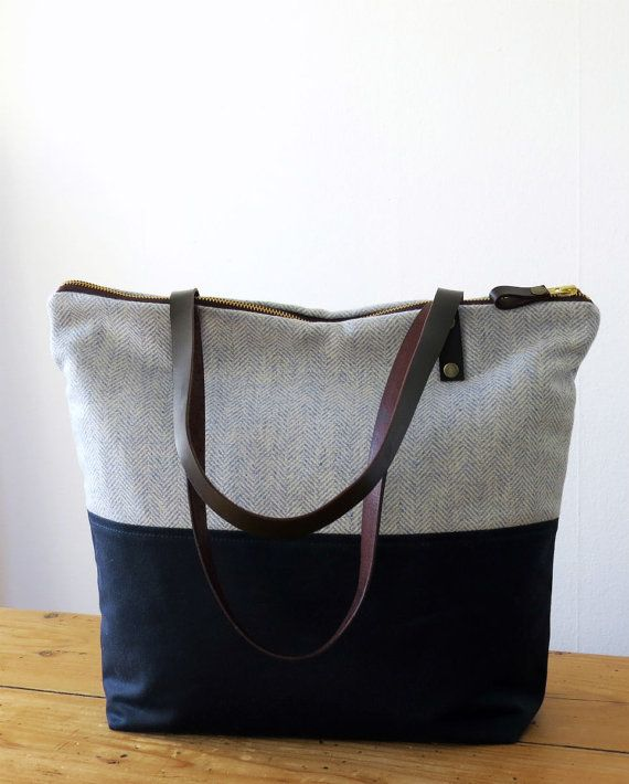 Canvas Bag Tote Bag with zipper pockets Diaper Bag by MeryBradley