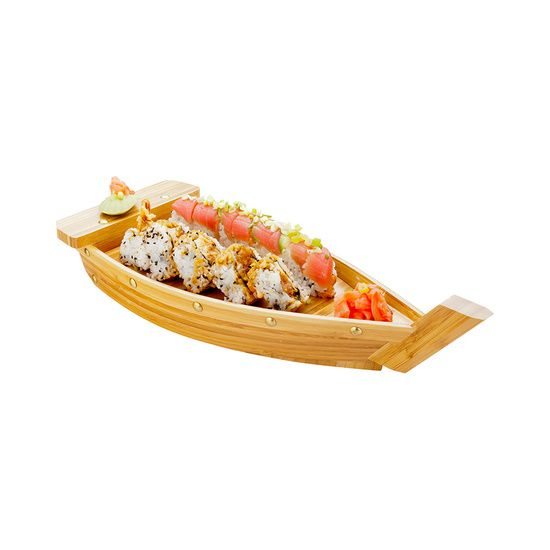 Large Bamboo Sushi Boat 17.3 inch 1 count box
