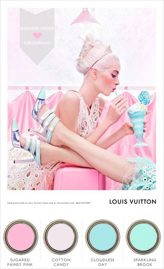 Louis Vuitton Spring Pastels are some of the colors I am considering for the wedding, this ad just compels me to choose them a lot more!