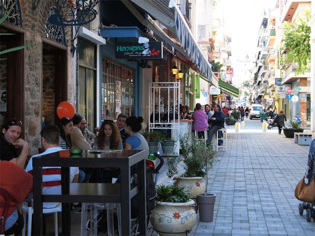pedestrian area in Patras, Greece - Πάτρα