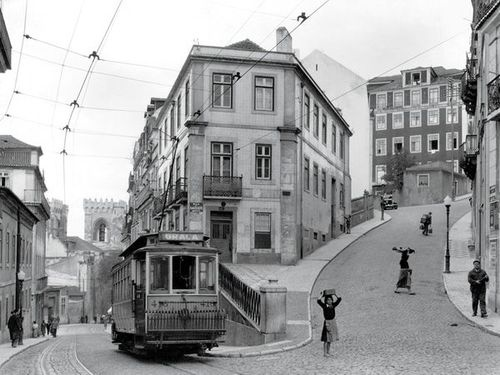 Street scene in Lisbon (Lisboa) - Portugal , 1940's