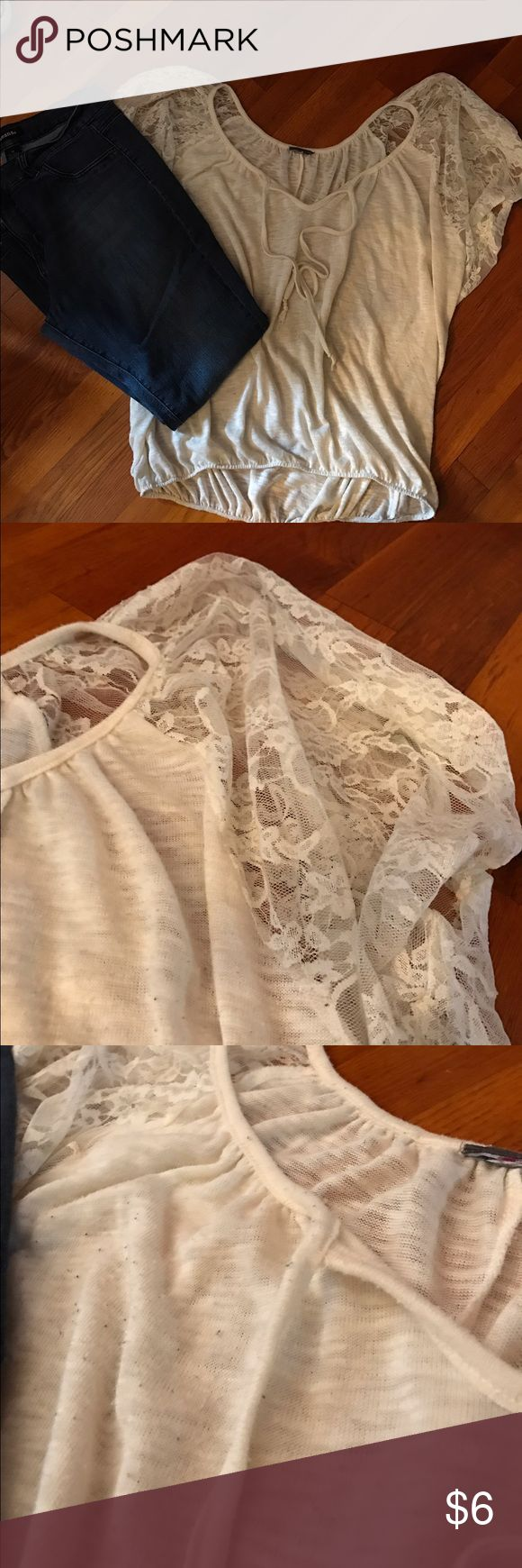 Cream tee LAce sleeves and tie in front Anthropologie Tops Tees - Short Sleeve